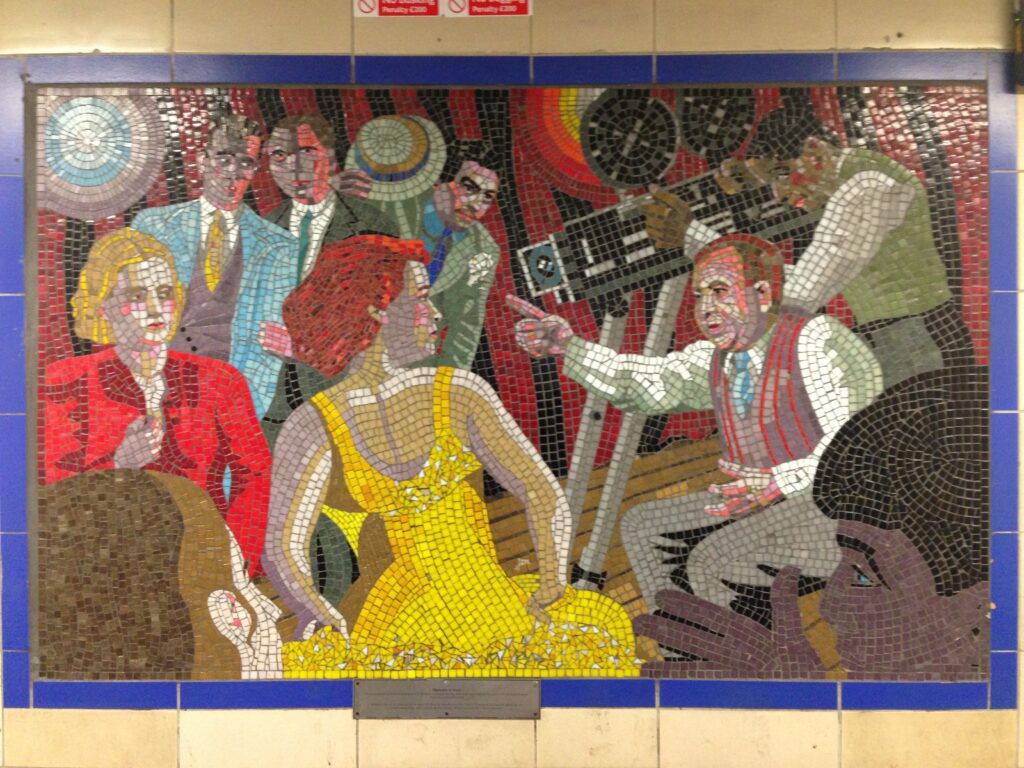 A mosaic depicting Alfred Hitchcock directing